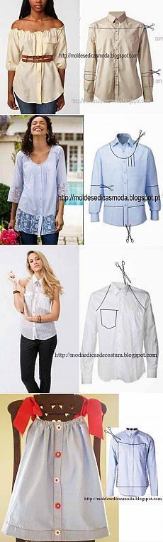 Ideas for clothes upcycle diy shirt makeover T Shirt Yarn, Diy Shirt, Men's Shirt Refashion, Upcycle Shirts, Shirt Dress Diy, Diy Clothing, Sewing Clothes, Dress Sewing, Revamp Clothes
