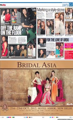 "Advertisement in HT City 10.10.2012    Looking forward to see you all at our booth ""Frozen In Time- Luxury Wedding Photography"" in Bridal Asia, Hall B, 21-22-23 Oct, 2012, Hotel Ashok, New Delhi    E: contactfrozenintime@gmail.com"