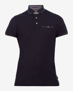 Textured jersey polo shirt - Navy | Tops & T-shirts | Ted Baker ROW