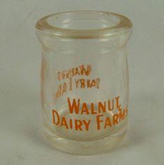 Vintage Individual Glass Cream Jar Creamer Milk Bottle Walnut Dairy Farms | eBay Old Milk Bottles, Antique Bottles, Bottles And Jars, Vintage Restaurant, Treasure Hunting, Coffee Creamer, Farms, Dinnerware, Wine Glass