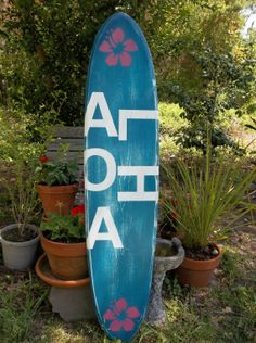 Aloha distressed surfboard wall hanging, surfboard wall art decor on Etsy, $99.99