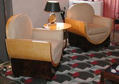 Art Deco Salon Chairs, probably by designer Jacques Adnet, circa 1928.