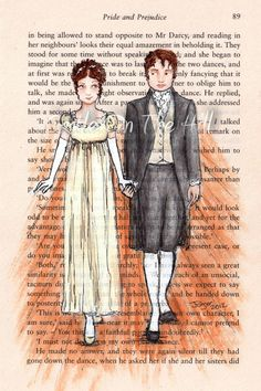 Open Edition ACEO Print - Lizzie and Mr Darcy - Jane Austen Pride and Prejudice