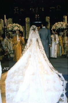 backview of Crown Princess Marie-Chantal's wedding dress by Valentino