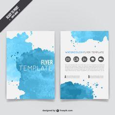 Watercolor flyer template Free Vector