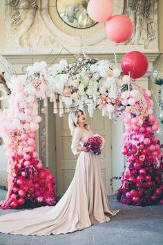 Ombre Pink Bridal Shoot at Aynhoe Park… A Mr & Mrs Unique & The Bijou Bride Collaboration. Flower and balloon arch by Bubblegum Balloons and Early Hours Ltd. Wedding Ceremony Ideas, Diy Wedding, Wedding Arches, Ceremony Arch, Indoor Wedding, Floral Wedding, Wedding Cakes, Wedding Dress, Wedding Balloon Decorations