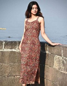 Inspired by Indian crafts, presents you this stylish summery slip dress. Style this piece for work or for a casual occasion by layering it with a light jacket or a scarf and team it with a classy flat and make it a perfect look for the day. Cotton Slip, Western Dresses, Light Jacket, Cute Dresses, Summer Outfits, Classy, Boho, Stylish, Casual