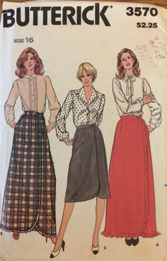 "VTG 3570 Butterick (1971) misses' skirts.  Size 16, Waist 30"".  Complete, unused, factory folded. Excellent condition. by ThePatternParlor on Etsy"
