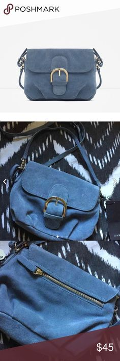 """Zara Genuine Leather Bag BNWT. Beautiful powder blue color. Bout 7"""" in length across and 6"""" downward. Zara Bags Crossbody Bags"""
