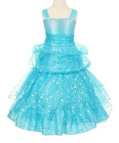 Love this Turquoise Sparkle Star Tiered Dress - Toddler & Girls on #zulily! #zulilyfinds
