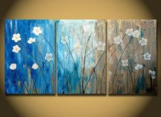 Flower Paintings, Acrylic Flower Painting, 3 Piece Wall Art, Modern Co – Paintingforhome Easy Flower Painting, Acrylic Painting Flowers, Abstract Flowers, Acrylic Painting Canvas, Canvas Art, Painting Abstract, Colorful Paintings, Contemporary Paintings, Flower Paintings