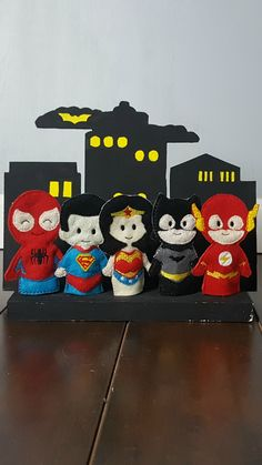"""This set of Comic Book Heroes finger puppets is ready to keep your child entertained for hours! These soft toys would be great for a road trip! Each puppet measures approximately 3.5"""" tall and is big"""