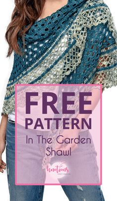In The Garden Shawl - knotions In The Garden Shawl free crochet pattern - knotions<br> Free crochet pattern for a half-circle shawl. Using two colors, it will quickly work up with a pretty eyelet main section and a fun and frilly border. Crochet Shawl Free, Crochet Gratis, Crochet Shawls And Wraps, Crochet Scarves, Crochet Clothes, Crochet Stitches, Knit Crochet, Crochet Patterns, Ponchos And Wraps