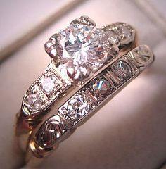 Antique Wedding Ring Set Vintage Diamond Deco Wt. Gold this looks like my granny's first wedding set