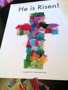 Tissue Paper Cross Craft for Kids
