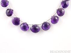 Dark Purple African Amethyst 8x8 10x10mm Flat Heart by Beadspoint, $5.95