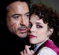 "Robert Downey Jr. y Rachel McAdams en""Sherlock Holmes"", 2009"