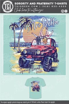 Delta Delta Delta shirts by TGI Greek! sorority apparel, sorority shirts, custom shirts, custom sorority shirts, custom fraternity apparel, custom tees, fraternity shirts, jeep, spring break, palm tree, beach, sun #tgigreek Sorority Banner, Delta Sorority, Fraternity Shirts, Sorority And Fraternity, Sorority Outfits, Sorority Shirts, Delta Girl, Spring Break, Summer
