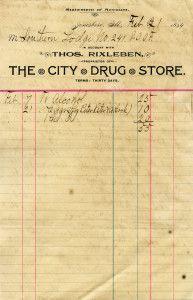 Free Vintage Image ~ The City Drug Store 1894 Invoice