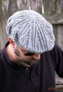 Free Pattern: Men's Cabled Golf Cap - moogly- I played around with different hooks + yarn wts, tried adding + subtracting rows, now I finally have the details ready on how to make the Men's Cabled Golf Cap, sized for a 23″ head – standard men's size. Of course, women can wear this hat too – if the brim is a little too big, try making the last couple brim rows with more tension or a smaller hook.
