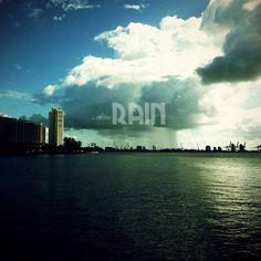 Rain over the Port of Miami
