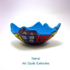 Small colorful polymer clay trinket bowl. I finished it today using my Nambi technique.  #artstudiokatherine #colorful #trinket #bowl…