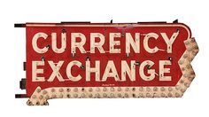 #Currency Exchange  89x42x18 presented as lot F1. #Mecum #WalkerSignCollection #Neon #Porcelain