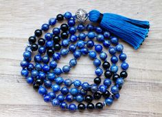 Lapis Lazuli and Obsidian Mala for Creativity and by YogaDotOm