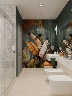 The right bathroom wallpaper can completely transform a functional room into a b… – Marble Bathroom Dreams Bathroom Tile Designs, Bathroom Art, Bathroom Interior, Small Bathroom, Bathroom Goals, Shower Designs, Bathroom Pink, Bath Art, Neutral Bathroom