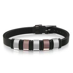 Steel & Coffee Black Leather Bracelet