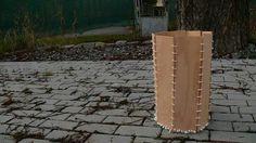 Stepp - variabilní odpadkový koš z bukové překližky a šňůry na prádlo