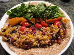 Vegan Nutrient Dense Wrap with Sweet Potato, black beans, brown rice, tomatoes and spinach. From Dr. Caldwell B. Esselstyn's book Prevent and Reverse Heart Disease.  I would sub quinoa for the rice.