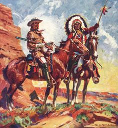 Antique print COWBOY INDIAN Wild West 1950s by theStoryOfVintage, $29.95
