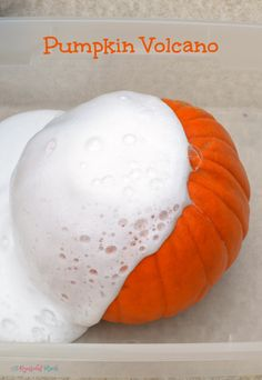 Turn a classic science experiment into a fun fall activity with this pumpkin volcano. Kids will love watching as chemical react and fizz over the sides of the pumpkin.