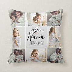 Personalized Handwritten Love You Nana 16-Photo Throw Pillow - tap, personalize, buy right now! #ThrowPillow #grandmother, #grey, #photo #collage, #grandchildren, Lumbar Pillow, Throw Pillows, Accent Pillows, Photo Pillows, Love You Dad, Niece And Nephew, Christmas Card Holders, Dog Design, Sweatshirts