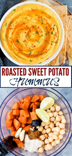 easy Roasted Sweet Potato Hummus is creamy, delicious and has a hint of sweetness from the Sweet potato. This homemade hummus is great as a dip or as a healthy spread on wraps and sandwiches. Sweet Potato Hummus, Sweet Potato Recipes, Vegetable Recipes, Vegetarian Recipes, Healthy Recipes, Fruit Recipes, Clean Eating Snacks, Healthy Snacks, Healthy Dip For Veggies