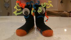 My son has Silly Sock Day @ his Preschool tomorrow. We put on our thinking caps and got a little creative and made Silly Monster: Happy and Sad Socks. He LOVES them :) #sillysockday #boys #fun #preschool