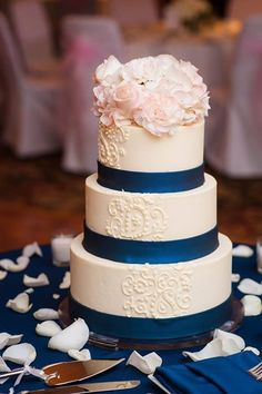 navy blue and blush pink wedding cakes blush and navy wedding cake by poppy pickering 17746