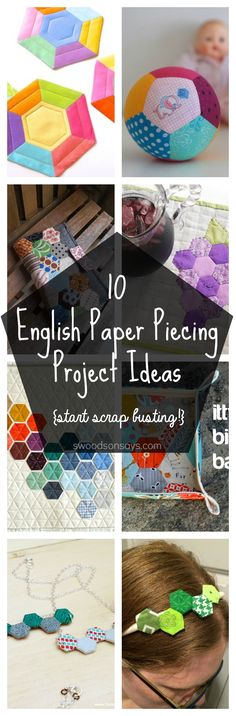 Check out this big list of ways to use up hexies - several english paper piecing tutorials, epp projects, and hand sewing inspiration! Great fabric scrap sewing ideas, too! Easy Sewing Projects, Quilting Projects, Projects To Try, Sewing Ideas, Quilting Tips, Sewing Tips, Foundation Paper Piecing, English Paper Piecing, Easy Crafts To Make