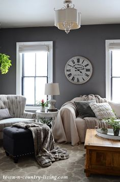 How Paint Adds Warmth to My Family Room - Town & Country Living Modern Country Family Room in Mole's Breath Paint Color Country Family Room, Grey Family Rooms, Family Room Colors, Family Room Walls, Dining Room Colors, French Country Living Room, Paint Colors For Living Room, Family Room Design, Living Room Grey