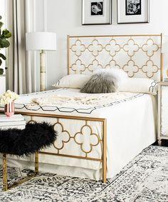 Take a look at this Goldtone Morris Quatrefoil Metal Bed Frame today!