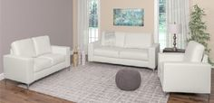 3 Piece Contemporary White Leather Sofa Set