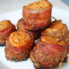 Sweet Potato Bacon Bites I thought I had a great idea, apparently I did, others have done this before me! I love sweet and savory [. Paleo Recipes, Cooking Recipes, Cooking Fish, Smoker Recipes, Cooking Salmon, Rib Recipes, Sweet Potato Recipes, Clean Eating Snacks, Healthy Eating