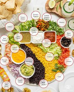 Whether it's for friends for Cinco de Mayo or a smaller fiesta themed gathering, check out this fiesta board, as a make your own nachos bar! Party Food Bars, Party Food Platters, Parties Food, Party Food Ideas, Party Recipes, Charcuterie Recipes, Charcuterie And Cheese Board, Taco Bar, Gastronomia