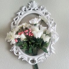 www.ivankaslittletreasures.com  http://ivankas.wix.com/blackandwhitedesign #ivankaslittletreasures #DIY #Rococo #frame #shabby #chic #wall #home #decoration #flowers #white #hobbylobby #wedding #acanthus