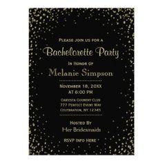 Bachelorette Party | Black Gold Confetti Card