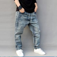 42.76$  Watch now - http://aiuni.worlditems.win/all/product.php?id=32798382739 - Men Famous Brand Mens Ripped Jeans Loose Fit Vintage Retro Distressed Harem Jeans Homme Tapered Denim Pants Pencil Jeans