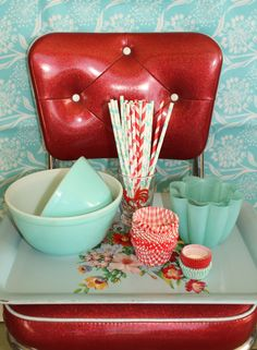vintage tray with red and aqua goodness