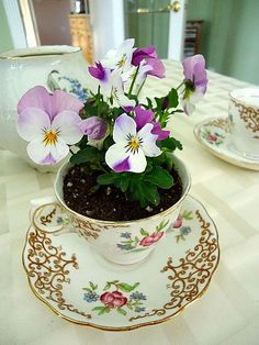 Mother's Day idea.  Real plants won't grow in this cup for long, but could use silk flowers with some stones to weight down the cup, and moss for around the top.  Thrift store cups and saucers.