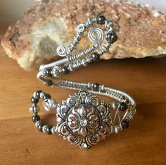 Large Wire wrapped wrap around cuff bracelet plated by RJsCrafts